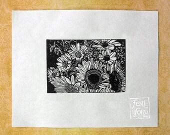 Sunflower Bouquet Linocut Art Print