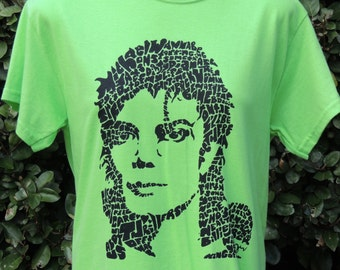 Michael Jackson Lime Green T-shirt- Original Wordtangles Design of Song Titles Word Art by Artist Izzie Brown