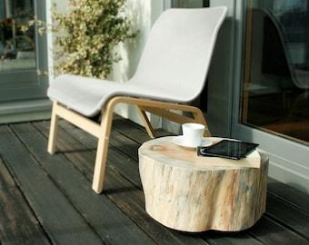 Wooden Stump Table Trunk side Table Tree Trunk Rolling Casters white scandi style stump baumstamm tisch sgabello ceppo di legno