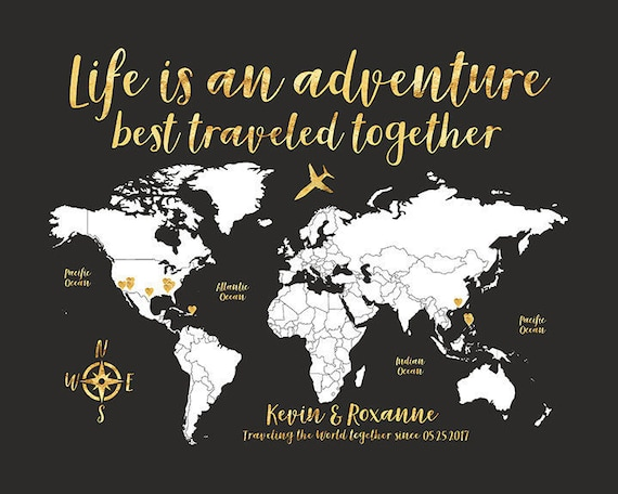 World map travel poster gold travel map travel quote life world map travel poster gold travel map travel quote life is an adventure personalize gift travel destination map personalise wf555 gumiabroncs Choice Image