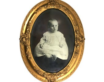 """Large 24"""" Antique Gesso Wood Frame with Convex Bubble Glass and Baby Litho, 24"""" by 18"""" Ornate Vintage Gold Gilt Picture Frame"""