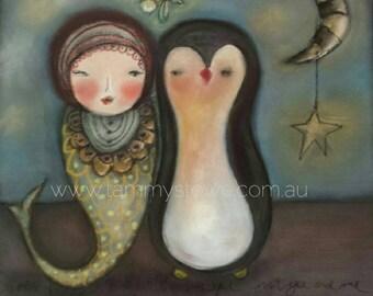 Nursery Art Penguin, mermaid  Art Print, kids decor