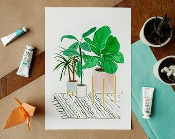 Potted plants Fine Art Giclée Print - A4