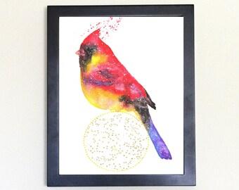 Cardinal Art Print, Galaxy Spirit Animal Totem Guide 8x10