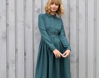 Plaid Dress / Shirt Dress /Long Sleeve Shirt Dress / Midi Dress / Handmade Dress/ OFFON Clothing
