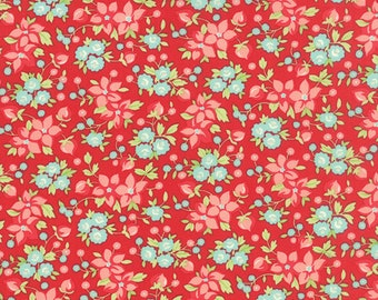 Fabric by Moda: Hello Darling by Bonnie and Camille Red with pink and turquoise flowers