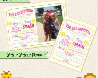 Pink Green and Yellow Chevron Personalized Invitations • Joint Party Invitation • Sibling Party • Brother Sister Party  • Twins Birthday