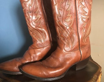 1960s Vintage Justin Boots Chestnut Colored Western Cowboy Boots : Size 9 1/2 Mens