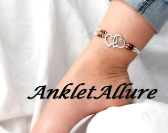 TWO HEARTS Ankle Bracelet Double Heart Anklet Beach Proof Mixed Metal Anklets for Women