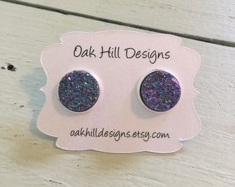purple 12mm druzy earring-stud silver druzy -small druzy earrings/stud drusy earring