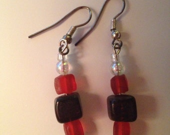 Red and Purple Glass Dangle Earrings