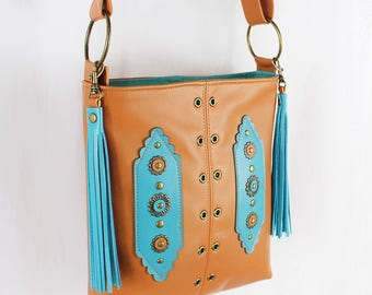 Tan Leather Crossbody Bag, Hip Bag, Shoulder Bag, Kanza