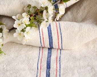 FP 435 : antique, grainsack, CORNFLOWER Blue STRAWBERRY Red, pillow, cushion, 48.03 long ,grain sack fabric, upholstery project, gogmuljalu