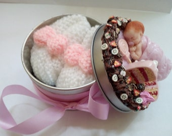 Decorated gift box with little Ballet shoe birthstone boy or girl handmade by myself