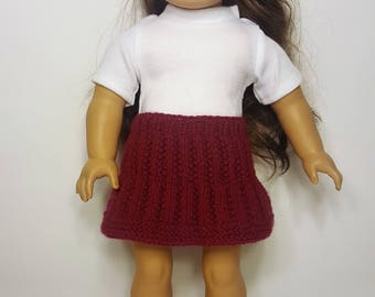 """Burgundy Knit Doll Skirt - Hand-made to fit like American Girl Doll Clothes - 18"""" Doll Clothes - Knit Doll Clothes"""