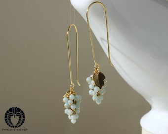 Tiny amazonite grapes earrings with gold on 925 sterling silver ear wire