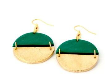 Emerald dangle earrings, Emerald green drop earrings, Gold earrings, Green earrings, Statement earrings, Geometric earrings, Big earrings
