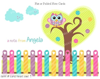 Cute Owl Hearts Note Cards Set of 10 personalized flat or folded cards