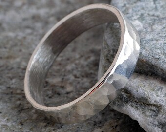 Sterling silver 4mm hammered ring handmade choose your size custom made to order 925