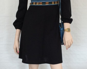 Dress/Boho Chic/Renaissance-sleeves/high waist/waist/black/piping/inserts/strips/vintage/1970s/size: XS