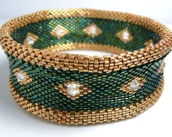 Green and Gold Beaded Bracelet, Peyote Stitch Bangle Bracelet, Swarovski crystal, statement bracelet