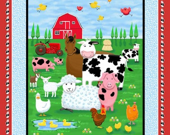 FARM LIFE Fabric Panel  by Henry Glass fabrics-1180P-10- barn cow pig sheep duck chickens