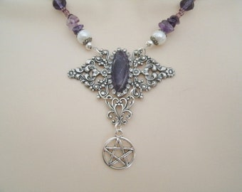 Amethyst Pentacle Necklace wiccan jewelry pagan jewelry wicca jewelry witch witchcraft metaphysical pentagram pagan necklace wiccan necklace