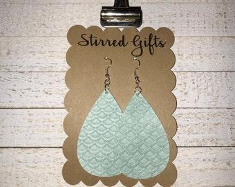 Mint Mermaid Faux Suede Earrings