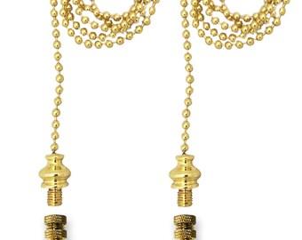 Royal Designs Fan Pull Chain with Birch Leaf Finial – Polished Brass