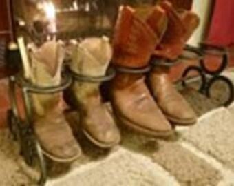 Handmade Horseshoe Boot Rack, Rustic Country Living Home Decor