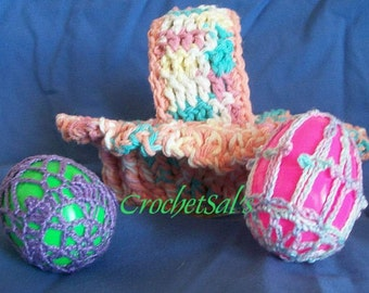 Crochet Pattern, Oval Basket with Egg Covers