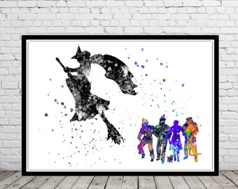 The Wizard of Oz inspired, Wicked Witch, Poster, Watercolor Print, Home Decor, Kids Room Decor, watercolor print, Poster (385bb)