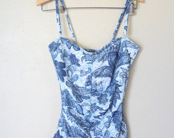 vintage white blue & turquoise leafy tribal batik one piece swimsuit womens