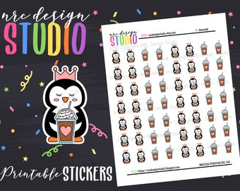 SALE Planner Stickers Printable, Coffee Stickers, Penguin Planner Stickers - Mocha Penguin No. 04
