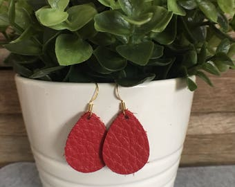 Leather Earrings/Statement Earrings/Gifts for Her/Teardrop Earrings/Drop Earrings/Lightweight Earrings/Diffuser Jewelry/Red Leather