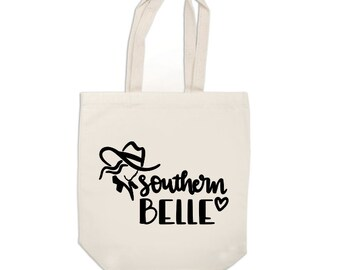 Southern Belle Country Girl Funny Canvas Tote Bag Market Pouch Grocery Reusable Recycle Go Green Eco Friendly Jenuine Crafts