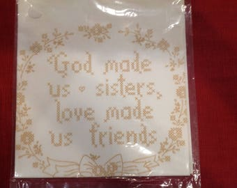 "Printed Cross Stitch Sampler--""God made us sisters, love made us friends"" by American Stitchery"