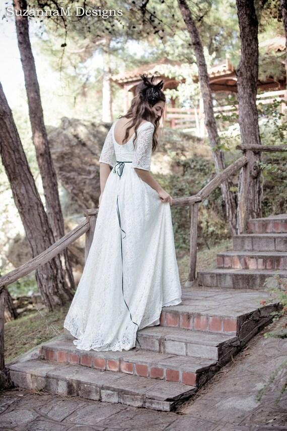 Creme Elfenbein-Spitze Hochzeit Kleid 50er Jahre Kleid voller