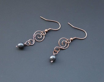 Hematite Earrings, Copper Earrings, Wire Wrapped Jewelry, Wire Wrapped Earring, Wire Jewellery, Gemstone Jewellery, Copper Jewellery