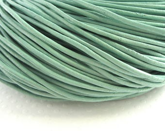 4 m leather cord 2mm ocean Green