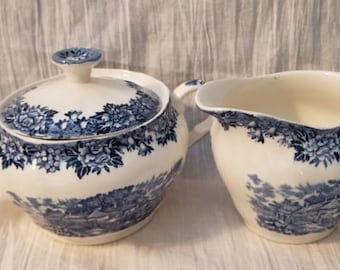 Creamer & Sugar Bowl w/Lid - English Village Blue by Salem China