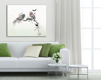 Large Print on Canvas, Wedding Gift for Couple, Love Birds, Anniversary Gift, Print of Original Painting