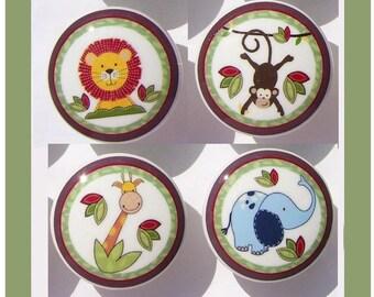 4set, 8 set  or 12 set JUNGLE TIME Jungle animal kids boys mtm bedding Dresser Drawer knobs pulls