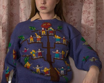 80s Raquel Peru Family Tree Sweater with 3D people  Small/ Medium