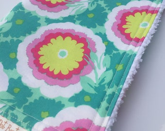 CHENILLE BURP CLOTH - Amy Butler - New Soul Blossoms - Buttercups in Spearmint - Flowers Pink - Baby Shower 0- Baby Gift
