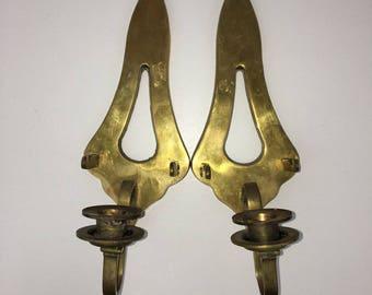 "Vintage Brass Wall Sconce Candlestick Holder Hotel Regency Home Decor 11.5"" Set of Two E*"