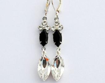 Swarovski crystal earrings, elegant earrings, Swarovski earring, black earrings, winter wedding, long earrings, crystal clear earrings, ice