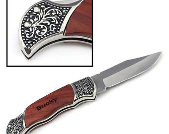 Custom Engraved Rosewood Decogrip Hunting Knife, Pocket Knife,