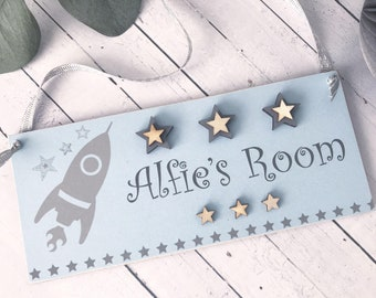 Personlalised Boys Rocket Room Sign P613