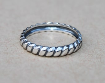 Silpada Oxidized Sterling Silver Twisted Rope Belle Fleur Sz 6 Stacking Ring R2745